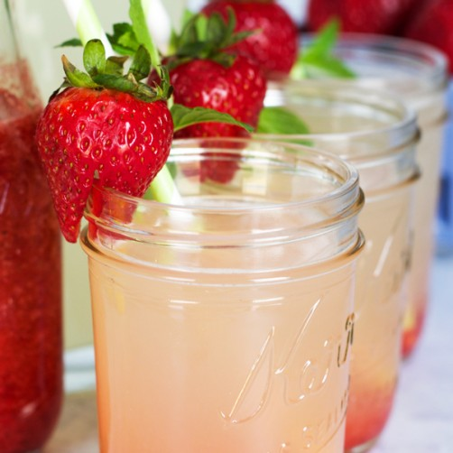 Fresh Strawberry Mint Lemonade. It's the perfect way to freshen up your lemonade for all your summer parties!