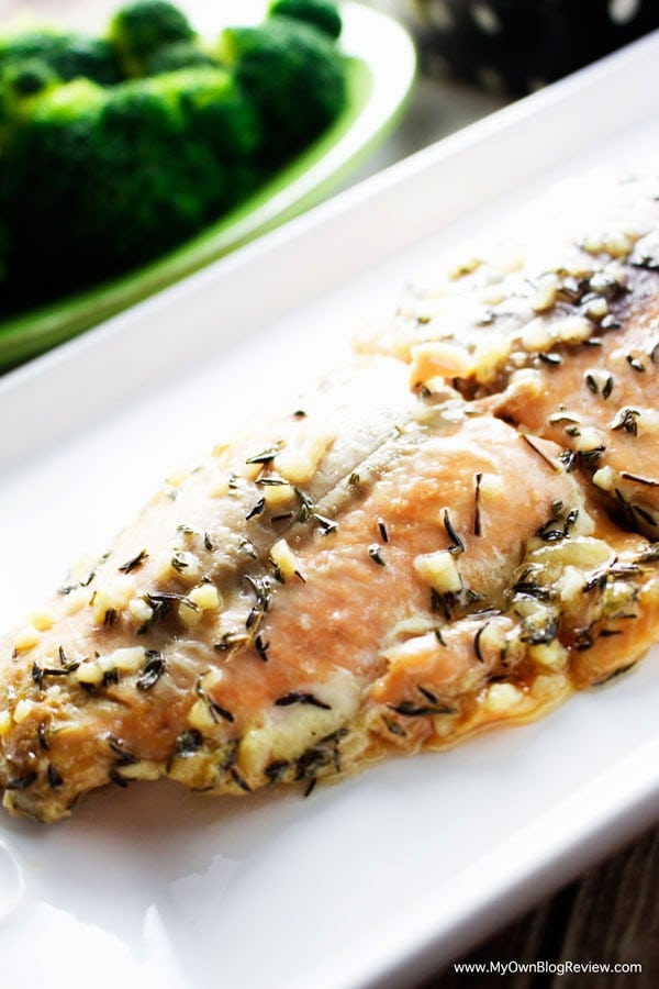 Honey Salmon Baked In Foil | Perfect marriage of honey and thyme | on embellishmints.com