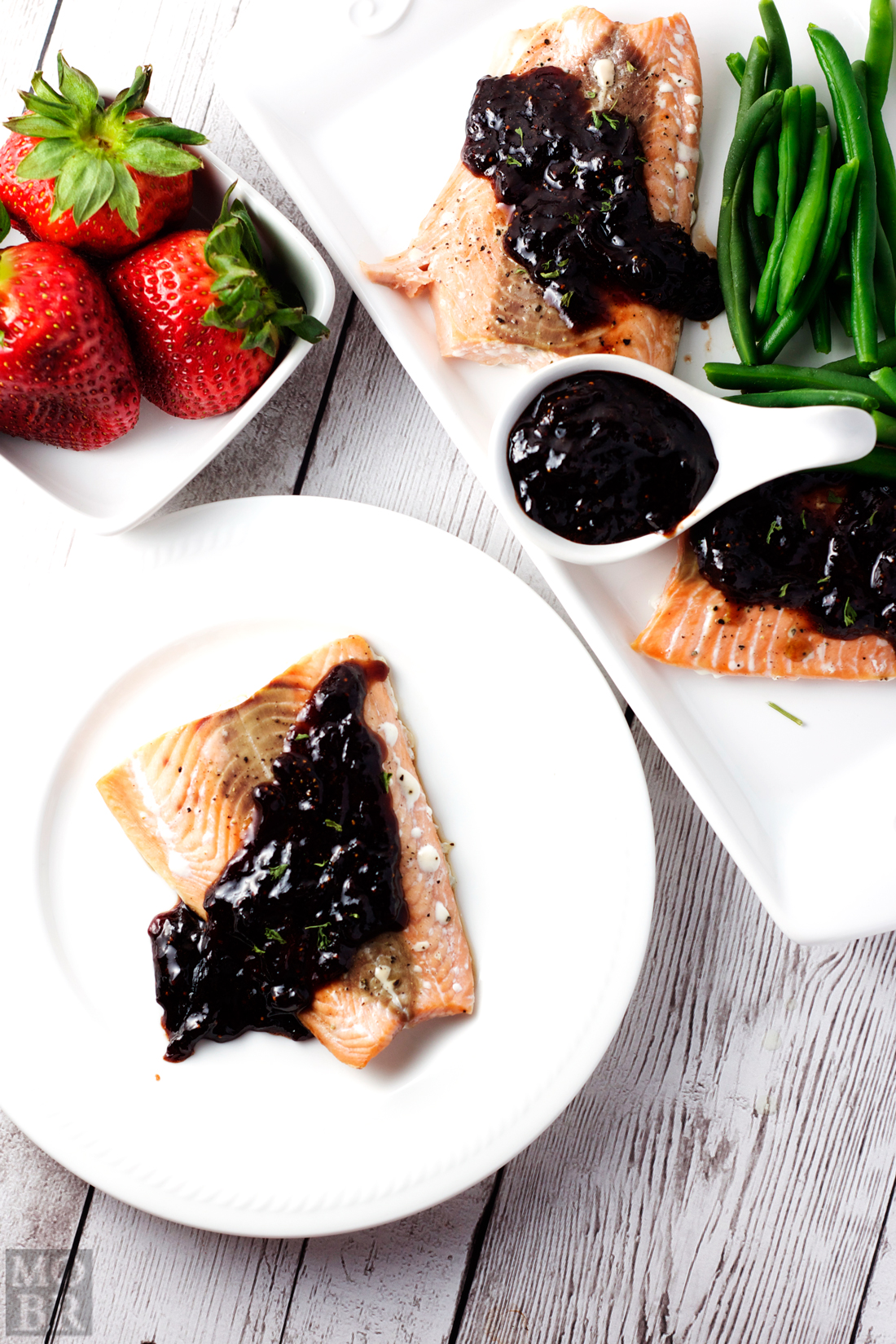 Roasted Salmon with Strawberry Balsamic Reduction in 30 minutes or less. Anything with balsamic reduction is a winner in my book.