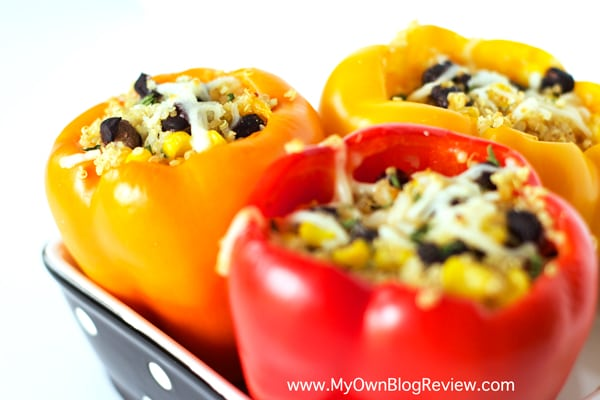 Quinoa Stuffed Peppers are sweet and savory wrapped into one bell pepper. A really easy way to sneak healthy foods into your meals. Easy to make ahead too!