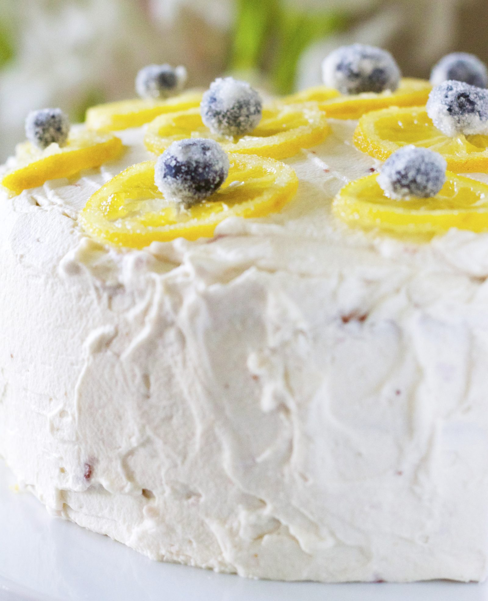 Lemon Blueberry Cake with Strawberry Whipped Cream Frosting www.Embellishmints.com