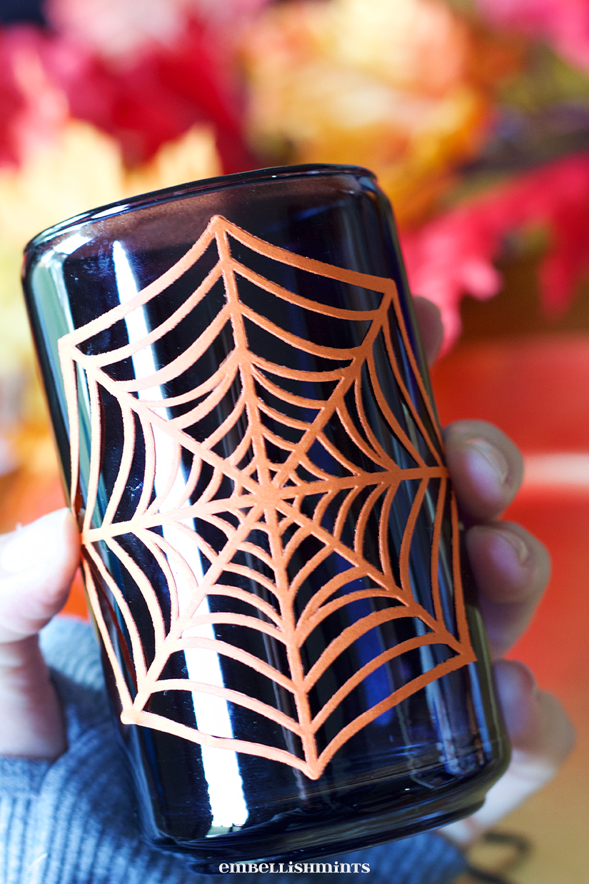 Halloween Decorations For Glasses: Add these easy-to-do decorations to your glasses and you will hit your Halloween get together out of the park! Step-by-step instructions at www.Embellishmints.com