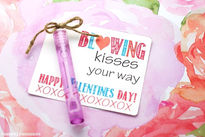 "Handmade ""Blowing Kisses Your Way"" Bubbles Valentine with a link to the FREE Printable on www.Embellishmints.com"