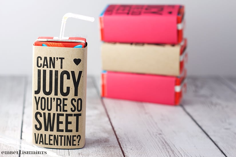 I love this printable because it's perfect for all those last minute Valentine's. You don't need anything but colored paper and tape. Get the link to the free printable at www.Embellishmints.com