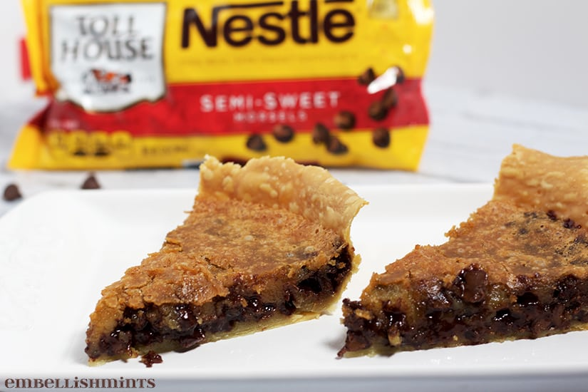 Nestle Toll House Chocolate Chip Cookie Pie is easier than any chocolate chip cookie recipe! It's fool proof. Sweet, creamy and rich. Serve warm with whipped or ice cream! www.Embellishmints.com