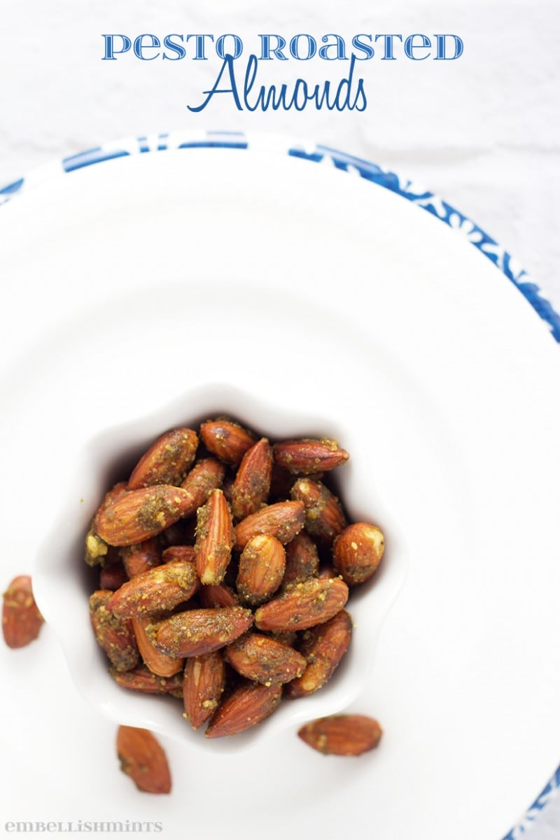 Pesto Roasted Almonds! These Pesto Roasted Almonds make the perfect snack, hostess gift and even appetizer for a party. They will be gone before you know it! www.Embellishmints.com