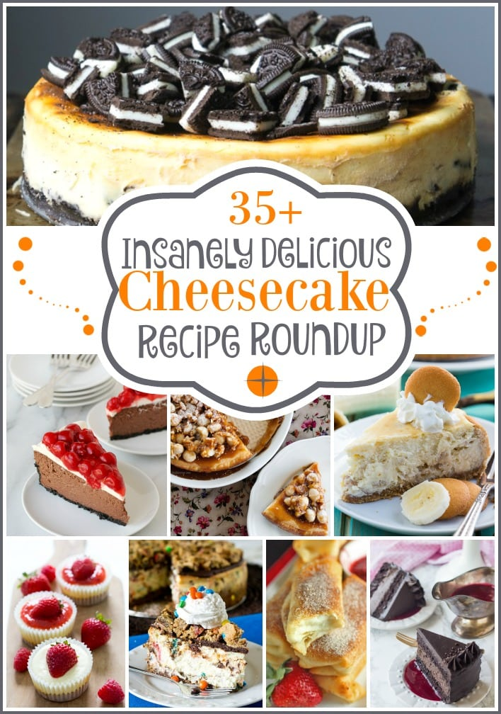 35+ Insanely Delicious Cheesecake Recipe Roundup. Part of the Best Of The Blogosphere Linky Party on Embellishmints.com