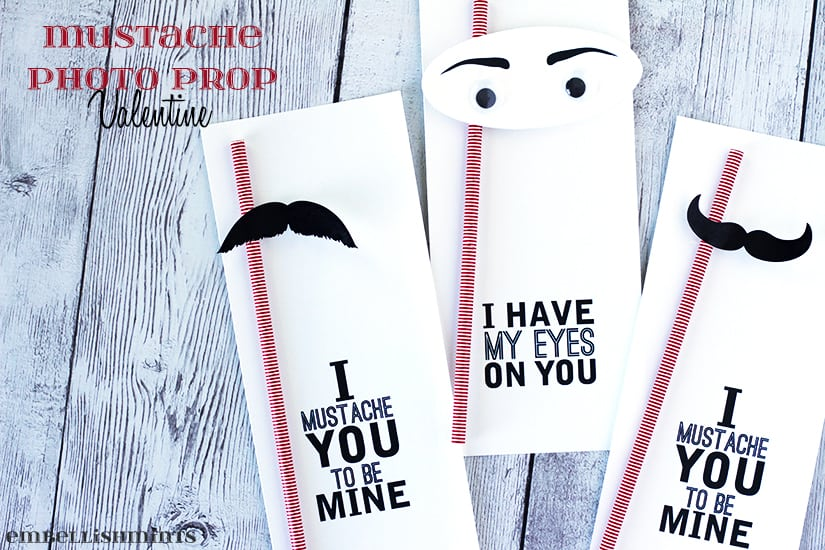 Handmade Mustache Photo Prop Valentine are perfect for at home Valentine's Day parties. A cute party favor and photo prop all in one! www.Embellishmints.com