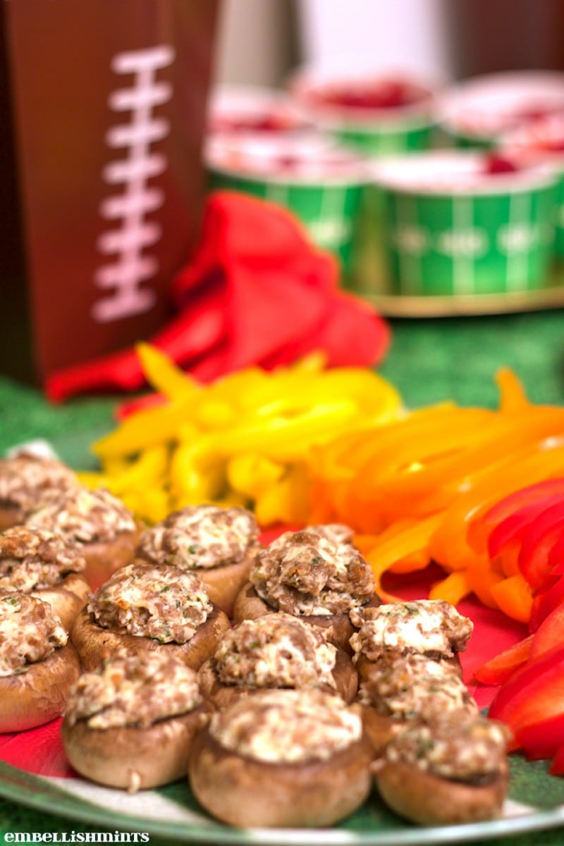 Stuffed Mushrooms are perfect for a party with friends! www.Embellishmints.com