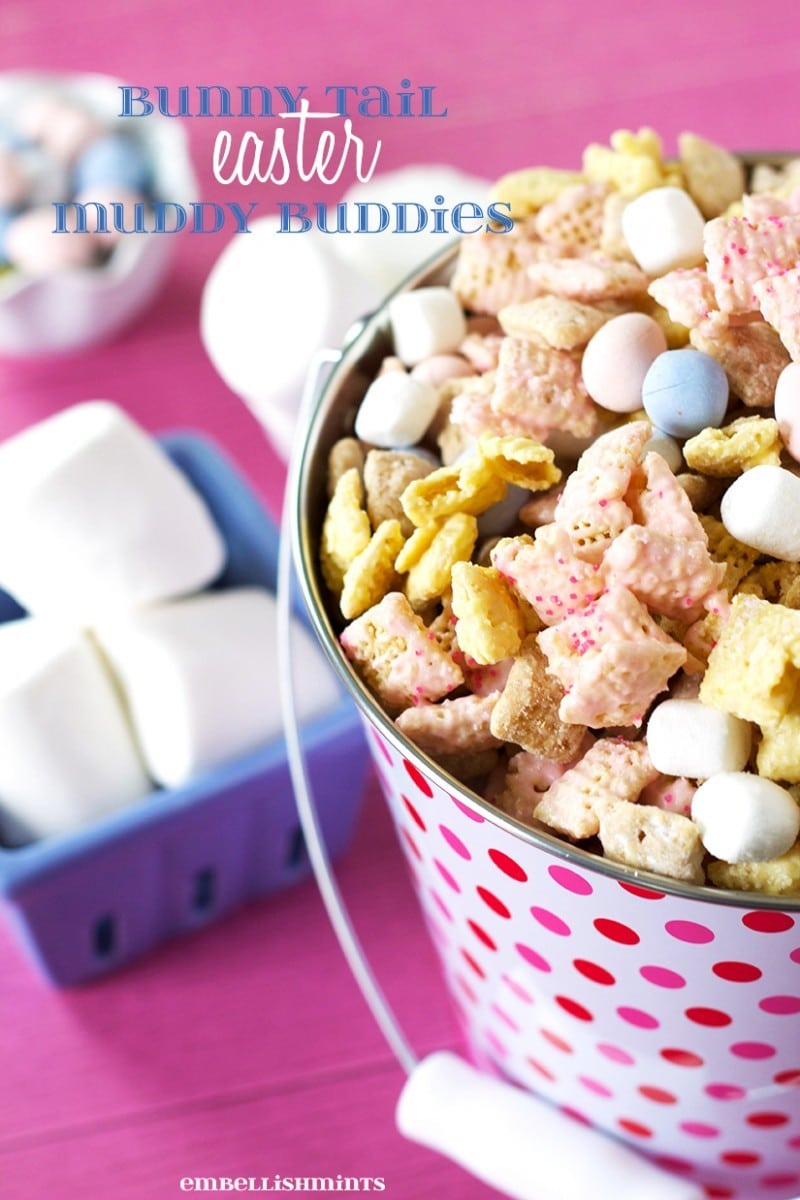 Bunny Tail Easter Muddy Buddies. Perfect for Easter and Spring. Recipe at Embellishmints.com