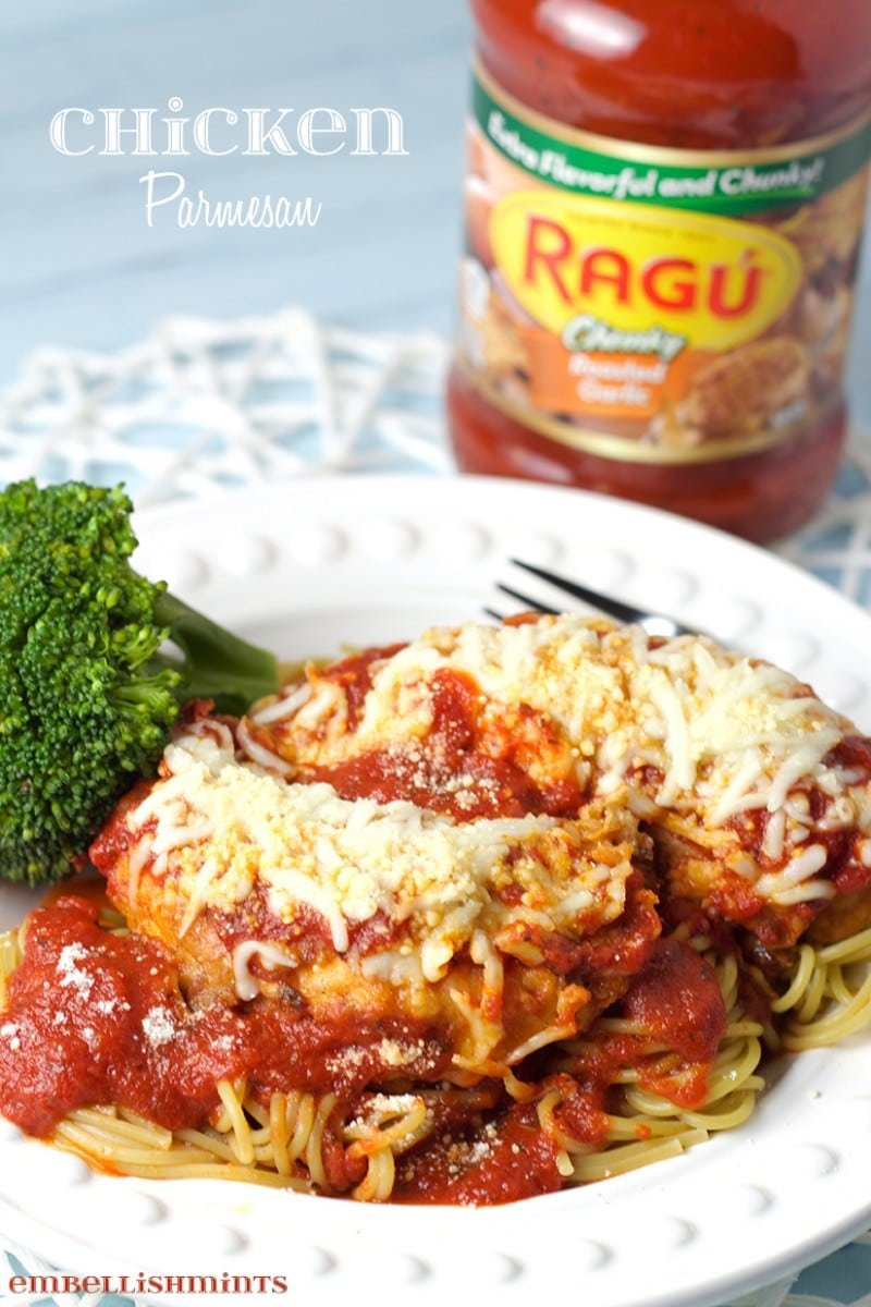 Chicken Parmesan with Ragu Pasta Sauce. Chicken is a Copycat Chick-Fil-A recipe and paired with a sweet marinara sauce, it tastes amazing! www.Embellishmints.com