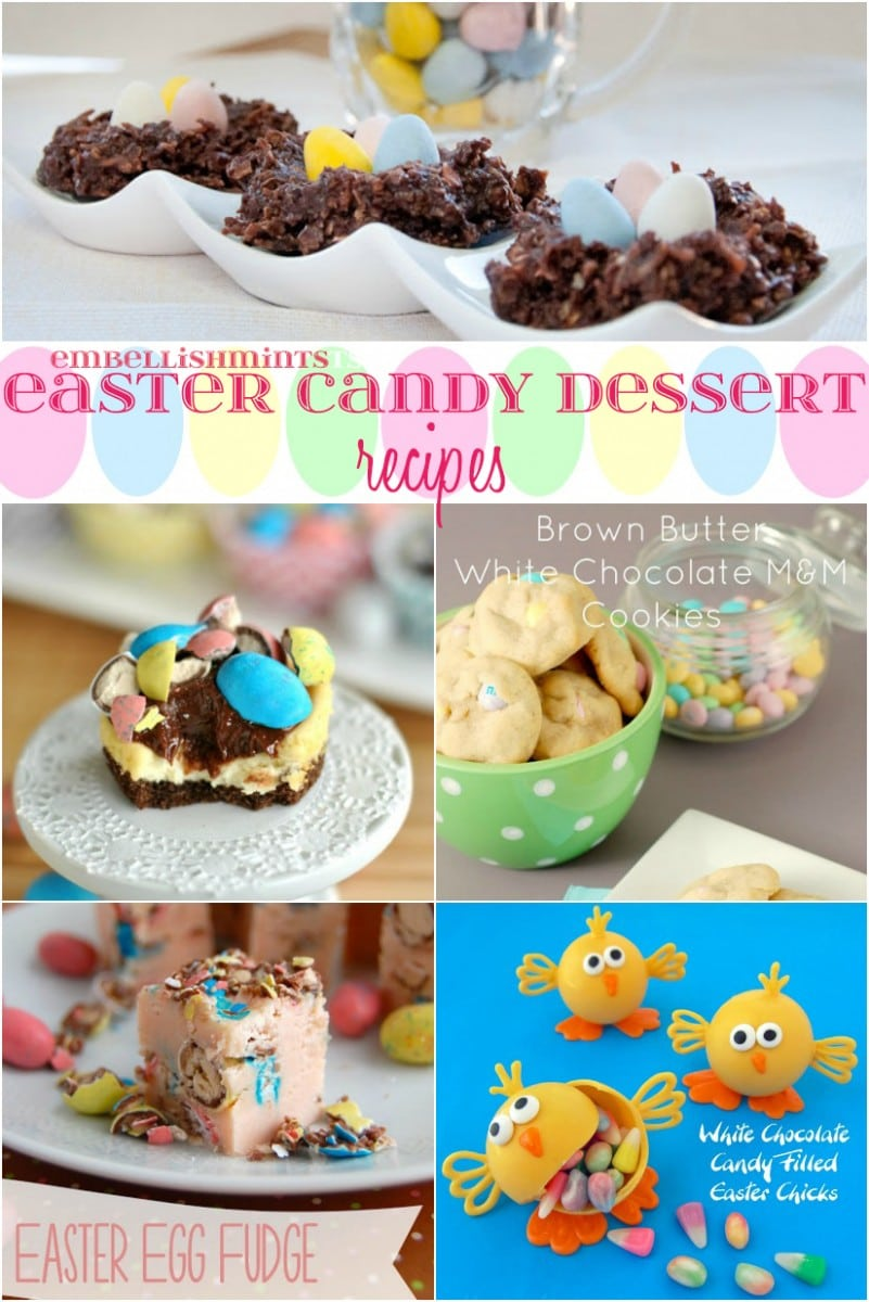 Easter Candy Dessert Roundup the perfect way to enjoy your pastel Easter Candy from the Easter Egg Hunt. You will love these Easter Candy Dessert Recipes on www.Embellishmints.com