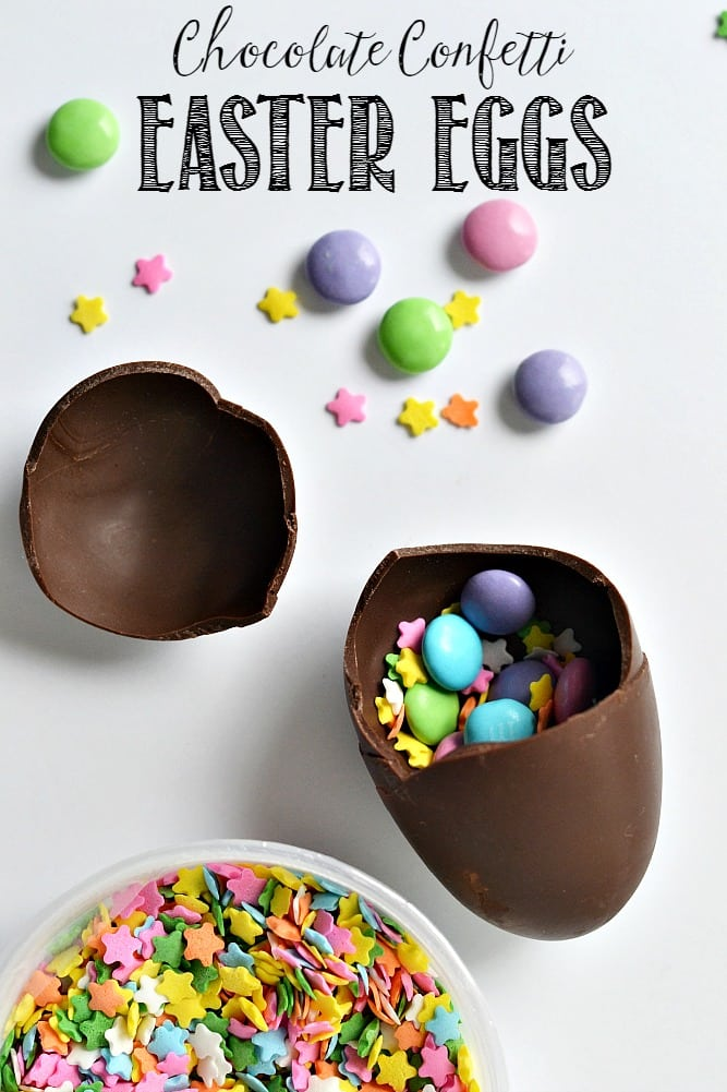 These chocolate confetti Easter eggs are such a fun way to celebrate Easter! Fill with a sweet note, cute sprinkles or your favorite little chocolate treat!