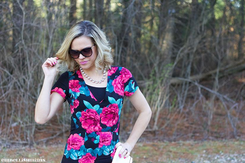 Wearing a floral dress is perfect any season, but take it a step further and try a floral jumpsuit! Both a floral dress and jumpsuit can be styled similarly. Find out more on www.Embellishmints.com