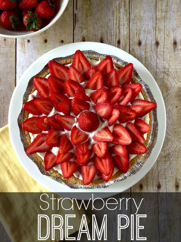Strawberry Dream Pie with only 6 ingredients! No oven required so it's perfect for hot summer days. This pie is foolproof.  www.Embellishmints.com