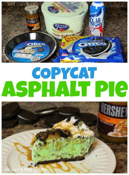Mint Ice Cream Pie {AKA Copycat Asphalt Pie} is a summertime favorite. It's best topped with whipped cream and caramel! You will love this.