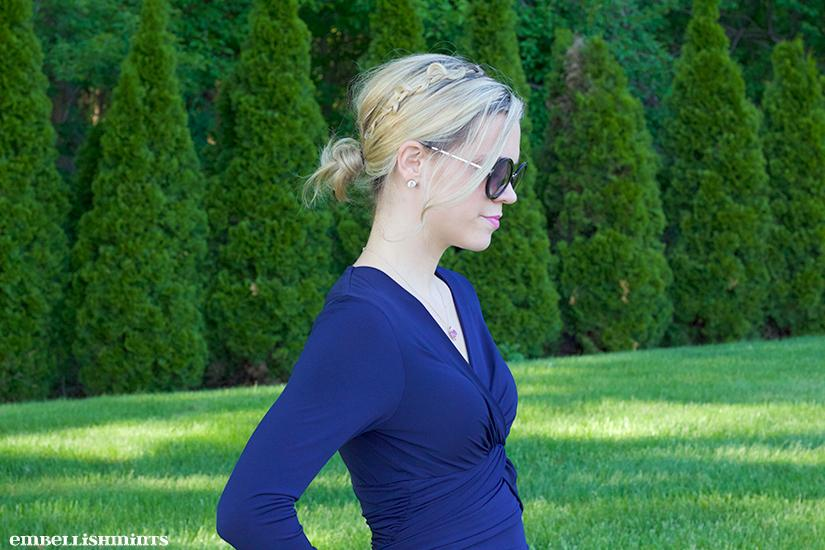 Bright Blue Shoes are the perfect way to give your Navy dresses a pop of color! Normally I would wear nude heels, but I love how this turned out! Find out where to get yours on www.Embellishmints.com. Find out how to braid your hair like this too!