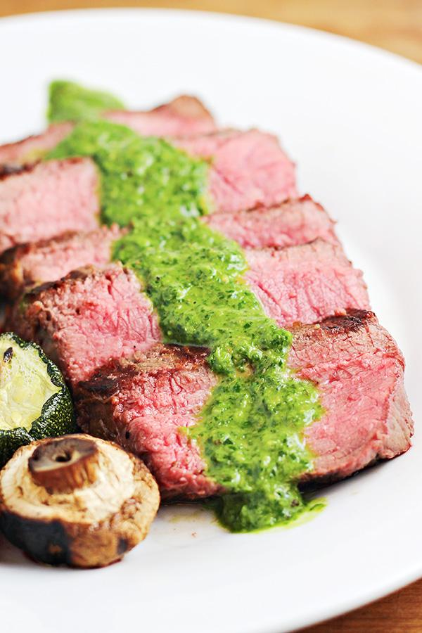 Grilled Steak with Easy Chimichurri Sauce is perfect for summer cookouts. Chimichurri Sauce is quick and excellent with your favorite grilled steak. Get the link to the recipe from this week's Linky Party on www.Embellishmints.com