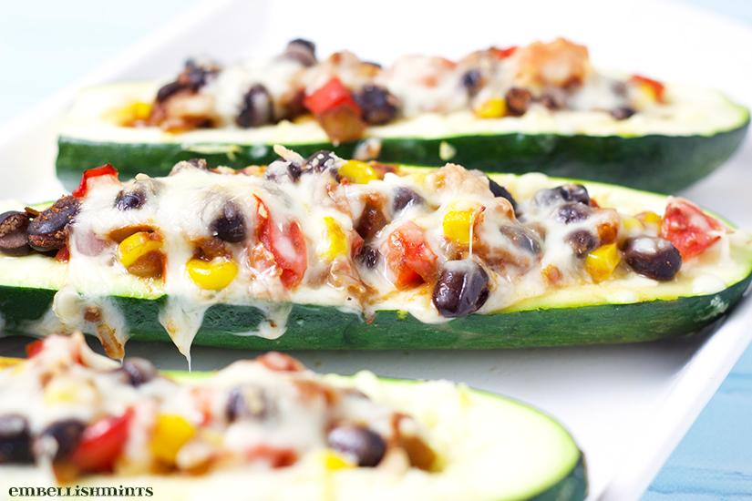 Mexican Zucchini Burrito Boats. A delicious, meatless meal packed with Mexican flavor! Find the recipe on www.Embellishmints.com