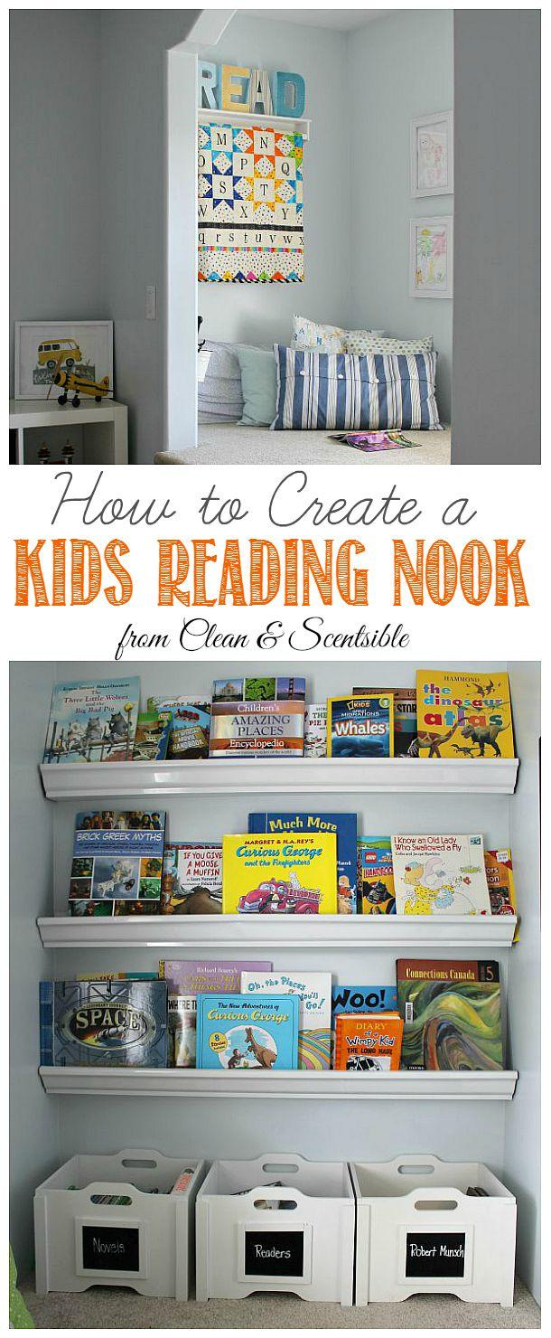 My favorite post from this week's Linky Party has to go to this adorable Kids Reading Nook for sure. Clean & Scentsible really knows what she's doing.!. Love this cute reading nook! Encourage your kids to read with a comfy space and books that are easily accessible.