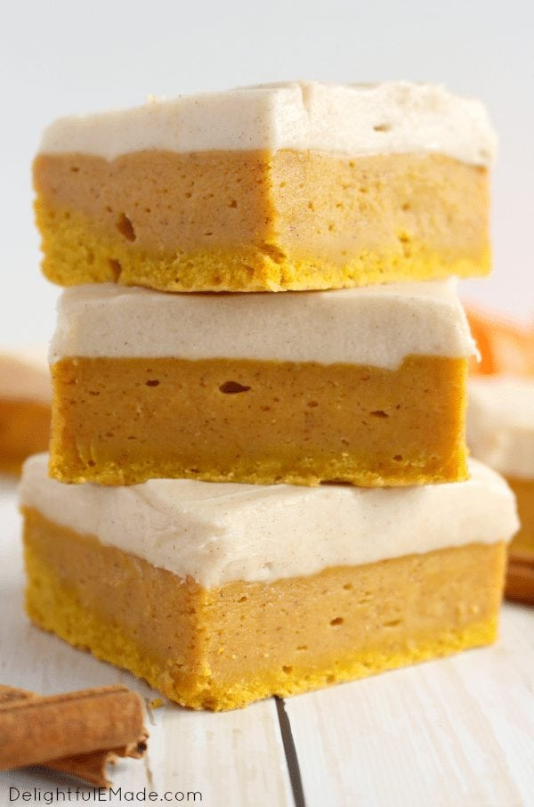 My favorite recipe from last week's Linky Party just in time for Pumpkin Spice season! Pumpkin Spice Sugar Cookie Bars DelightfulEMade. Check out more great recipes here.