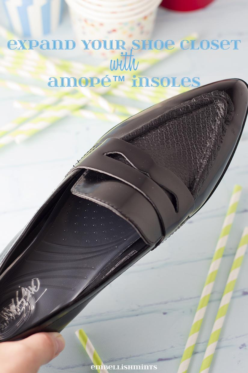 Expand Your Shoe Closet with Amopé Insoles. Find out more about the wide selection, and a FREE mail-in-rebate on www.Embellishmints.com