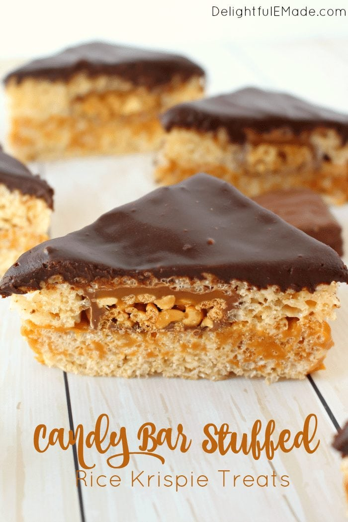 My favorite post from last week's Linky Party are these amazing Candy Bar Stuffed Rice Krispie Treats from DelightfulEMade! Find the link here!