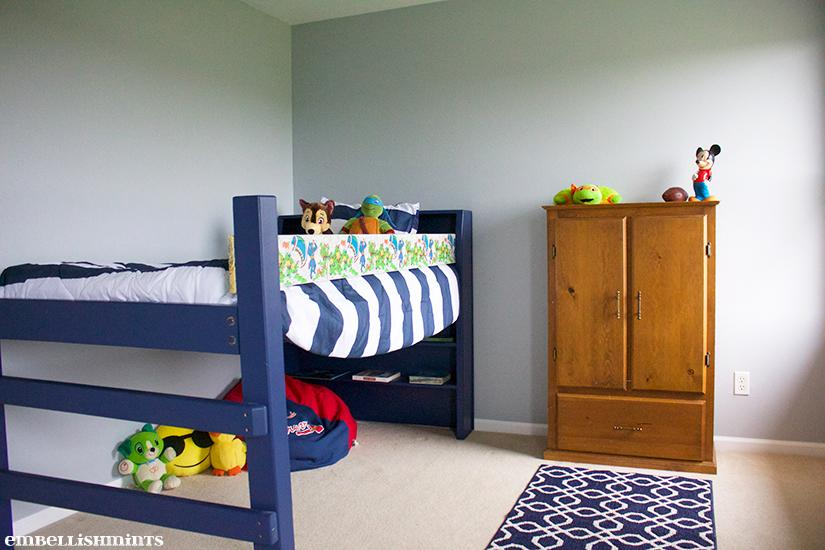 I'm going to share my son's room and how paint color can transform it. We changed the original lime green to the perfect blue grey paint color. Find out more on www.Embellishmints.com