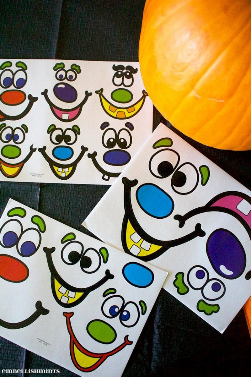 Mess Free Pumpkin Decorating Halloween Party. A cute set of Jack-O'-Lantern Face Stickers from Oriental Trading were the highlight of our Halloween Party. Find out more on www.Embellishmints.com