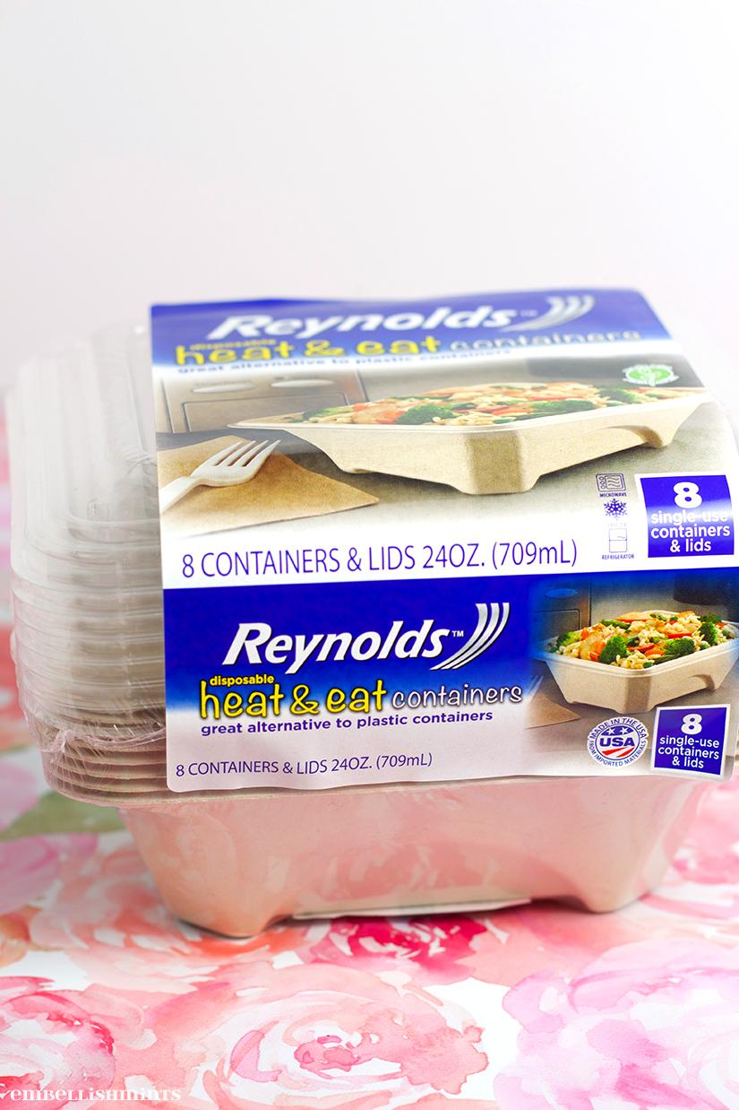 Looking for ways we save money? I've started making my husband lunch. One of my favorite disposable containers is the Reynolds heat and eat! Find out why on www.Embellishmints.com