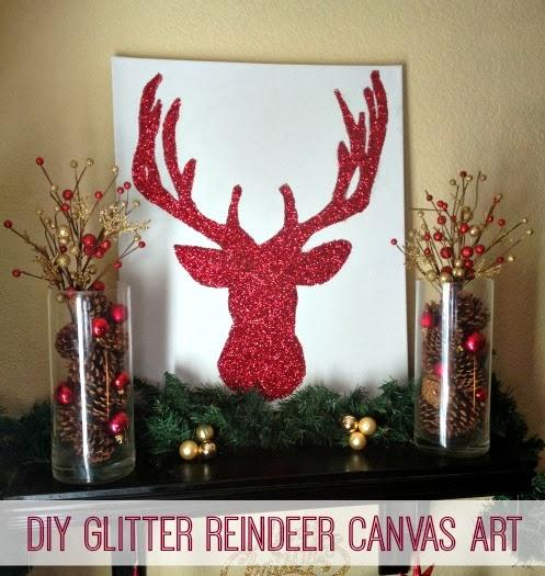 My favorite post from this week's linky party is this cute DIY Glitter Reindeer Canvas Art from Inspiration For Moms. Get the link to find out how to make your very own here!