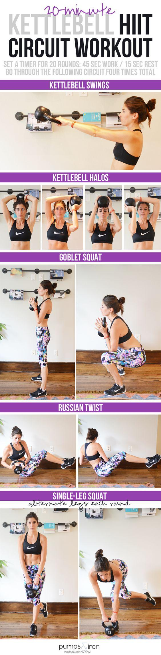 20-Minute Kettlebell HIIT Workout (great one for small spaces/apartments). Need some inspiration for your Weight Loss Challenge With Cash Prize? Check out some of my favorites here!