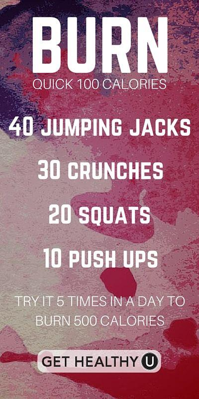 Do this quick workout to burn 100 calories fast! ... 6 Week No-Gym Home Workout Plan ... Need some inspiration for your Weight Loss Challenge With Cash Prize? Check out some of my favorites here!