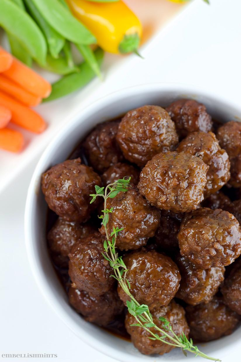 3-Ingredient Meatballs, or Grape Jelly Meatballs, for the Chicago Bears vs Green Bay Packers game. A huge rivalry and I've put together party ideas with NFL Homegating to help you throw the best party! Find out how on www.Embellishmints.com