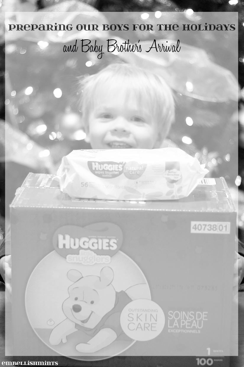 We're preparing our boys for the holidays and their baby brother's arrival by teaching them I to share with those in need with Huggies at Meijer. Find out how you can help those in need too at www.Embellishmints.com.