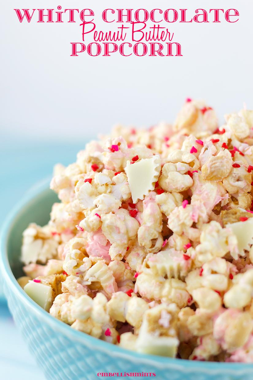 White Chocolate Peanut Butter Popcorn. Find the recipe on Embellishmints.com