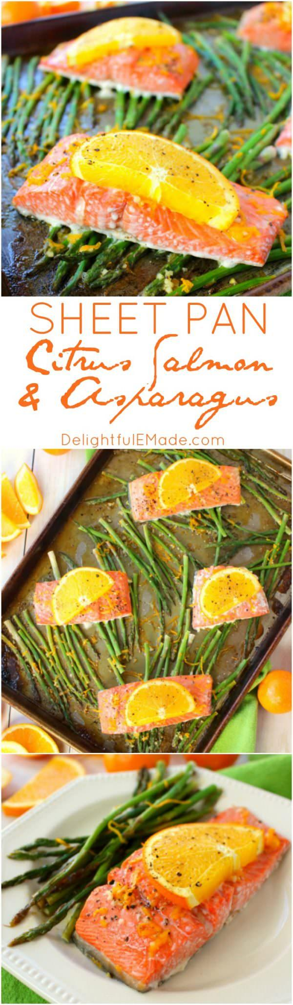 Favorite from this week's Linky Party: This Sheet Pan Citrus Salmon and Asparagus recipe has a delightful glaze of orange, lemon & lime. The salmon is roasted with the asparagus for easy cleanup!