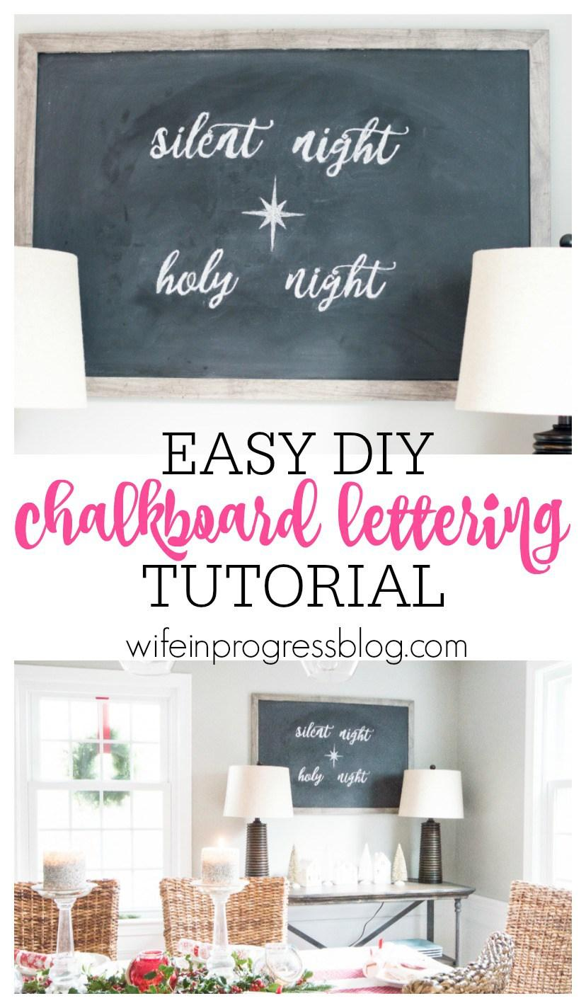 My favorite from this week's linky party! You're not going to believe how easy DIY chalkboard lettering can be! All you need is chalk and a pen. It's simple and completely transforms any chalkboard! Check out how to do it here.