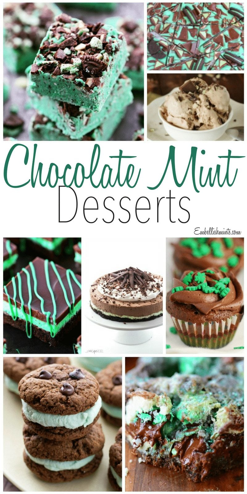 Dessert Recipes! Chocolate Mint Desserts including brownies, cheesecake, ice cream and more! All on Embellishmints.com