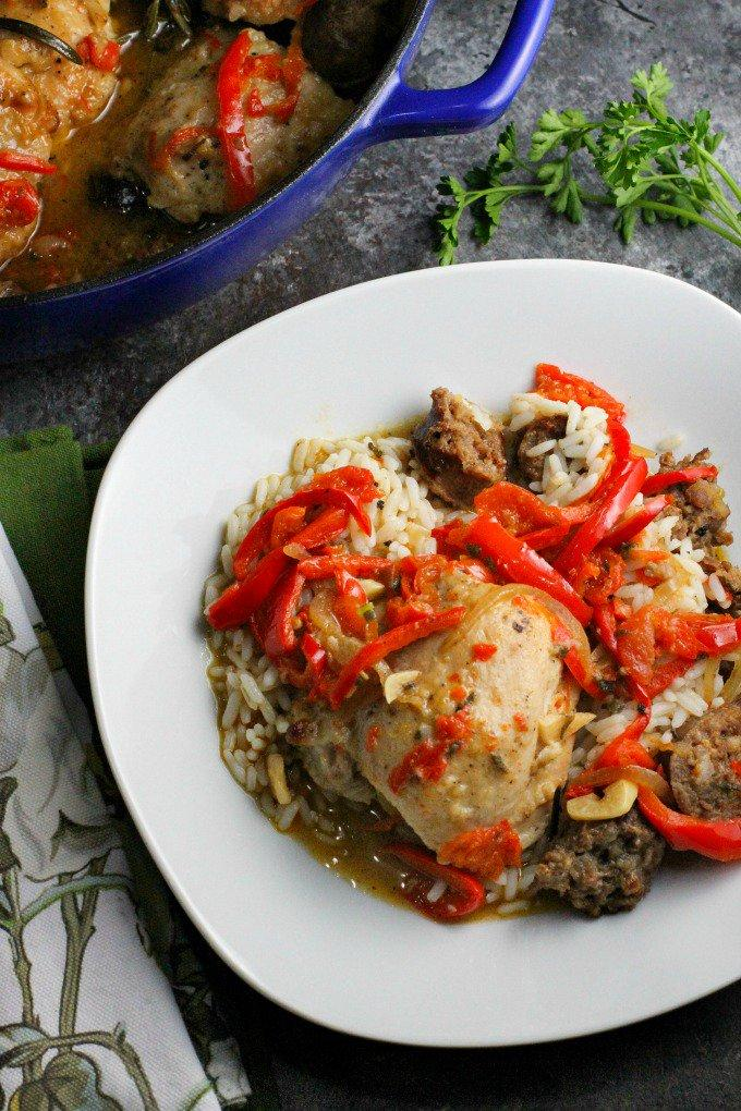 Chicken Scarpariello...a flavor packed sweet and sour chicken and sausage dish with Peppadews and red bell peppers! My favorite from this week's linky party
