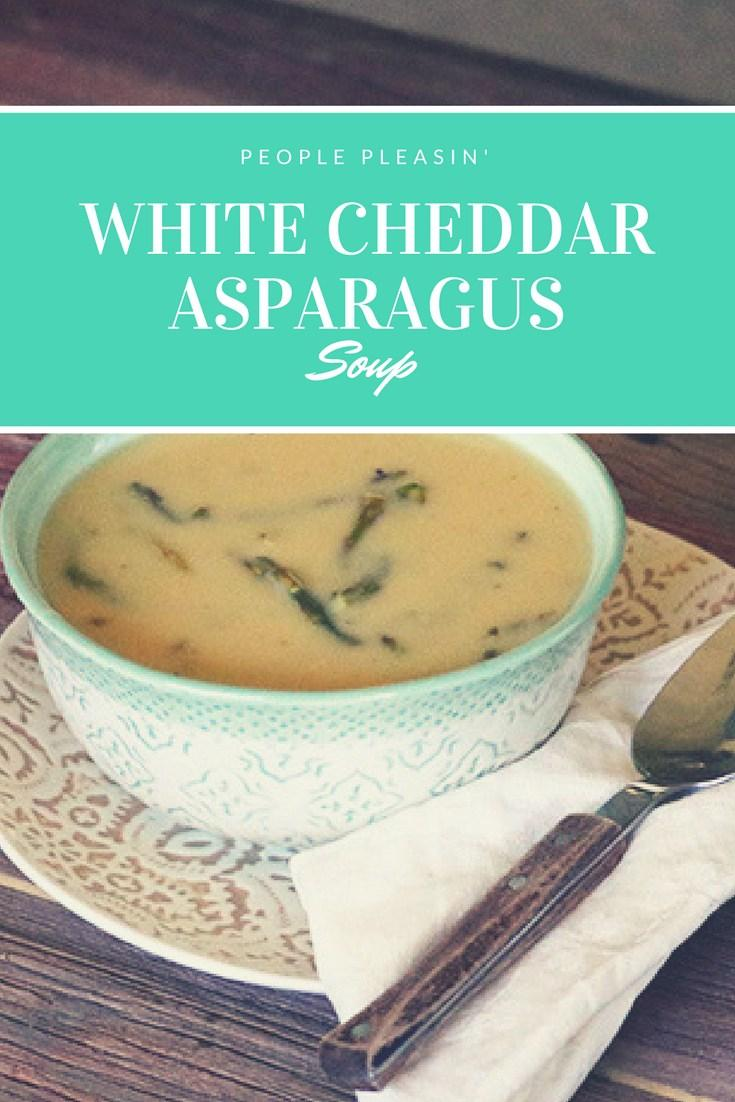 This easy white cheddar asparagus soup is warm, filling, and ready in under an hour! The perfect soup recipe for chilly evenings. My favorite from this week's linky party on www.Embellishmints.com