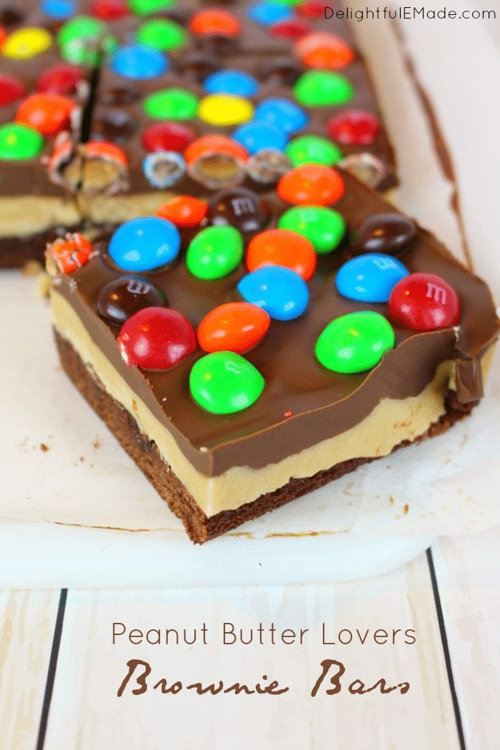 This week's Linky Party favorite dessert recipes are these Peanut Butter Brownie Bars from DelightfulEMade. Rich, fudgy brownies are layered with peanut butter filling, a chocolate peanut butter ganache and topped with Peanut Butter M&M's® candies!