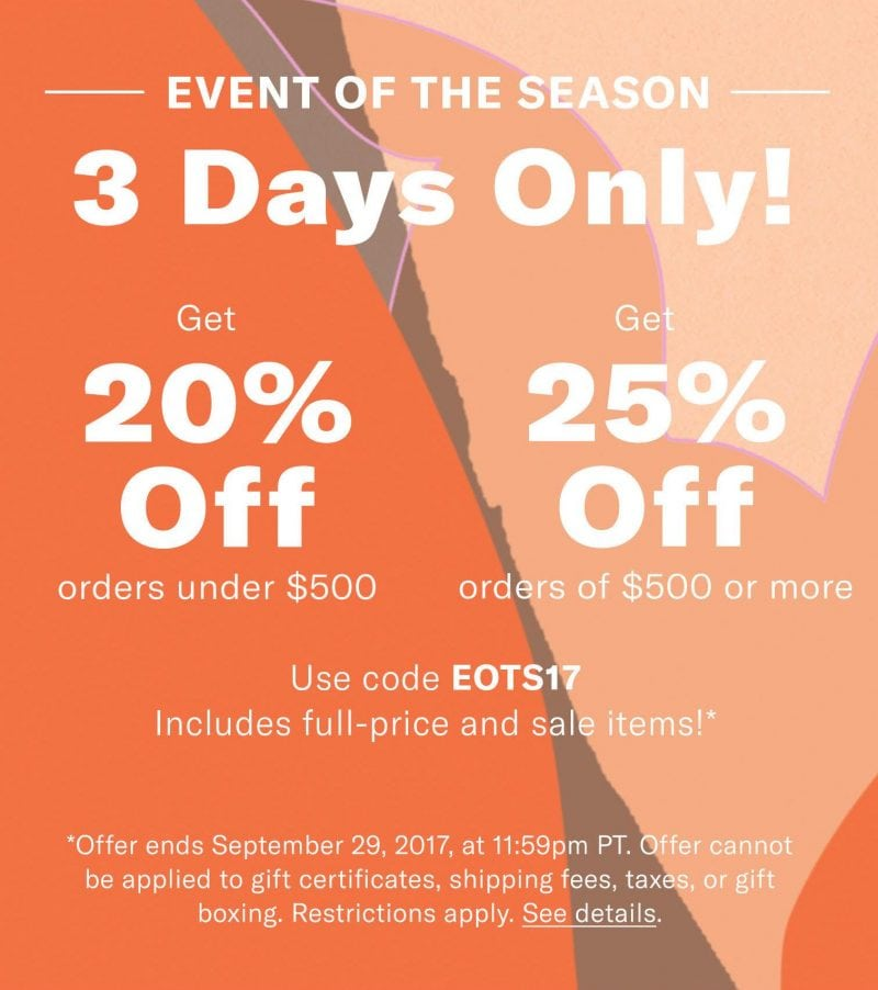 More exciting news!!! SHOPBOP is having another SALE. It starts Wednesday 9/27 and ends Friday, Septebmer 29th at 11:59 PM Pacific Time.