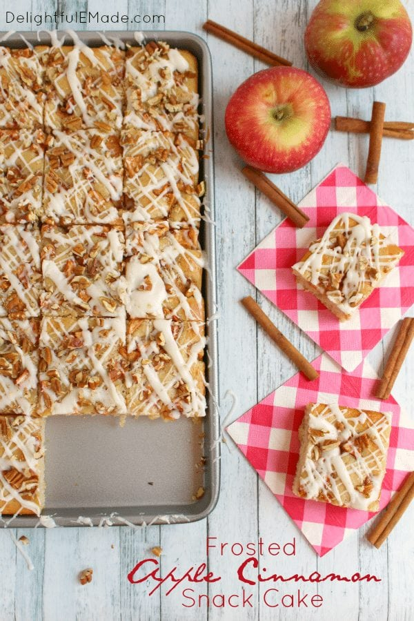 This delicious recipe is making me excited for Fall! Here is this delicious Apple Cinnamon Snack Cake. How can it not be delicious? Find the link to the recipe from Delighful E Made here.