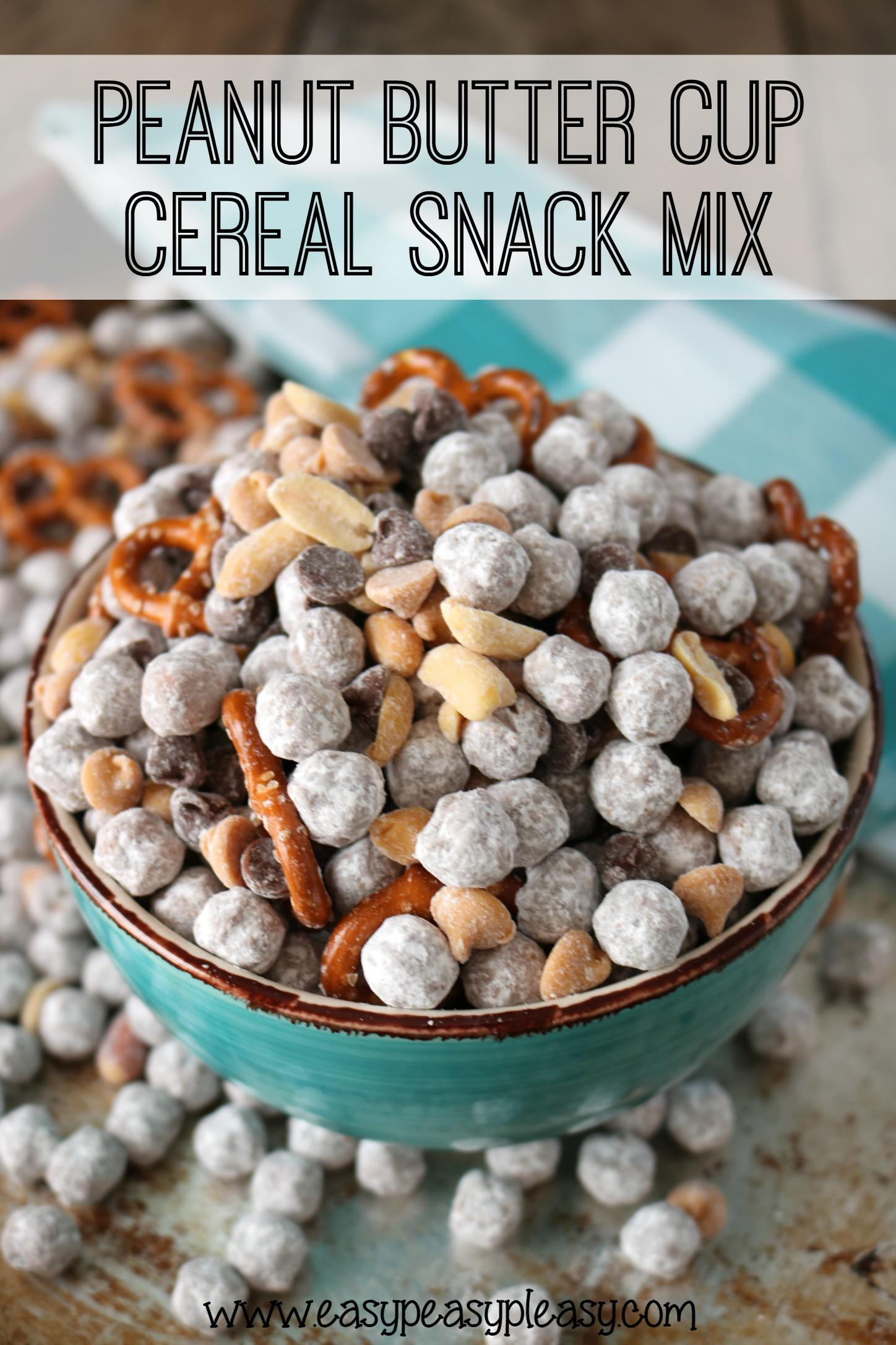 {Linky Party} Peanut Butter Cup Cereal Snack Mix from  EasyPeasyPleasy.com