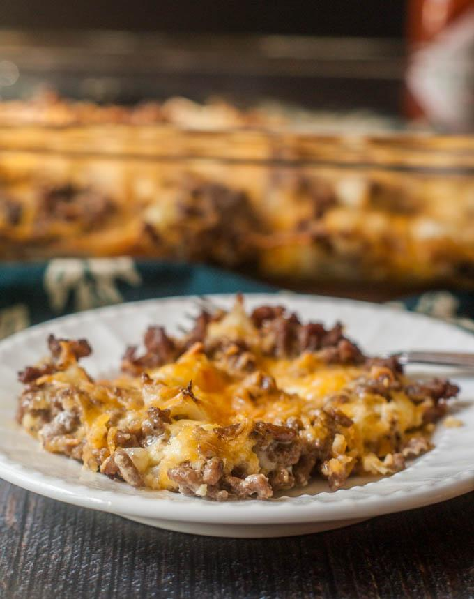 This Cheeseburger and Cauliflower casserole is pure comfort food. Freeze individual servings for a quick low carb lunch. Only 1.2g net carbs per serving. A favorite recipe of mine from this week's linky party on Embellishmints.com. Get the recipe now!