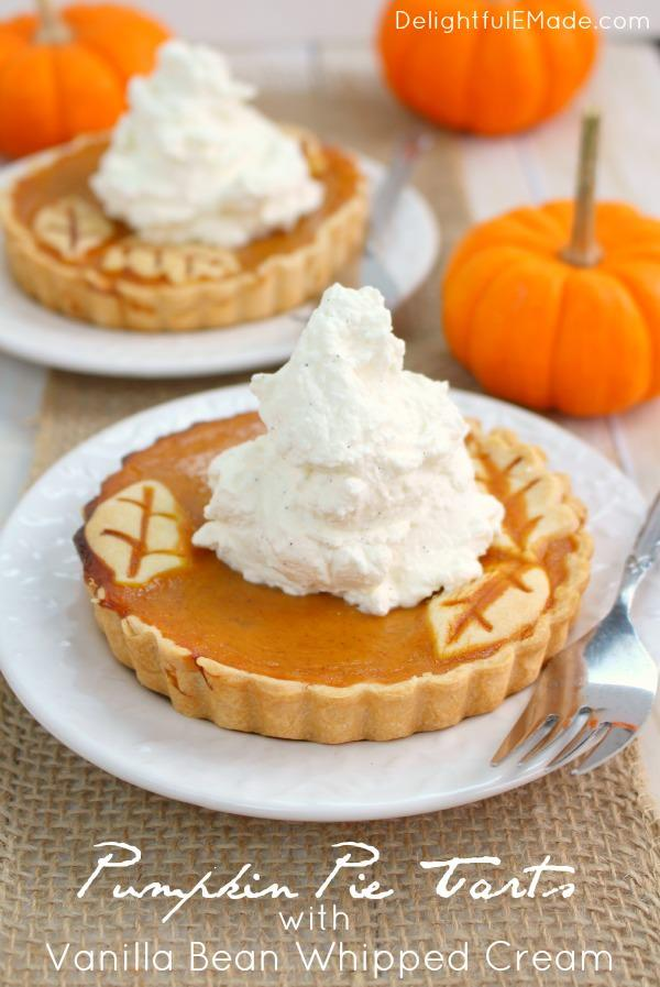 DCI Linky Party Feature: These easy Pumpkin Pie Tarts are just like classic pumpkin pie, but when made in small tart pans, they become the most beautiful individual dessert for your holiday meal!  Topped with delicious vanilla bean whipped cream, your guests will be dazzled! From DelightfulEMade