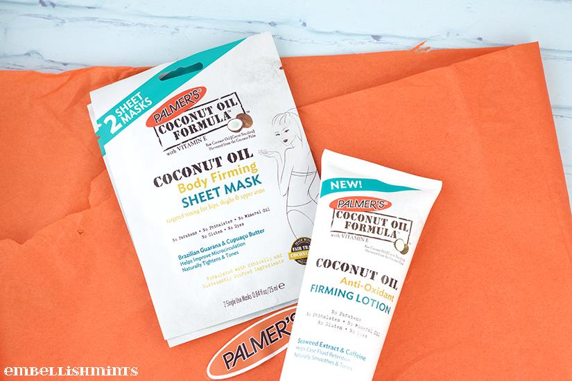 Palmer's Coconut Oil Formula Review. Use the Anti-Oxidant Firming Lotion and Body Firming Sheet Mask together to give skin a toned, smoother appearance. I love tightened skin! www.Embellishmints.com