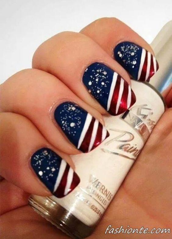 Holiday Nail Designs for Spring Winter Summer Fall. Paint the town red white and blue this 4th of July with a patriotic manicure like this one.