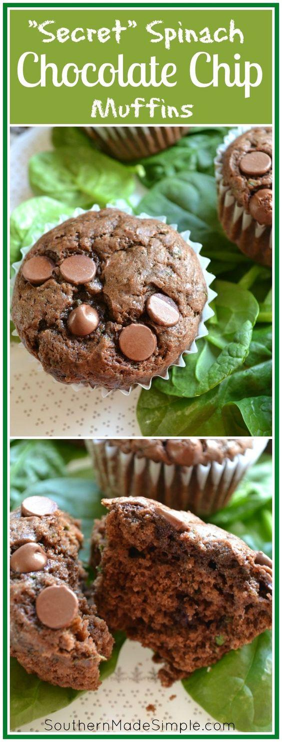 "Vegetable Recipes For Kids || Kid Friendly Vegetable Recipes. Chocolate Chip Spinach Muffins - a seriously delicious way to sneak in veggies into your favorite morning muffin..without even knowing! Looking for a way to sneak in some extra veggies into your diet? Then these ""hidden"" spinach chocolate chip muffins are right up your alley!"